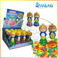 Light spinning top animal candy toys new product China factory