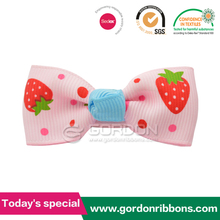 Fruit printing grosgrain ribbon Hair ribbon bows with metal clip supplied by factory