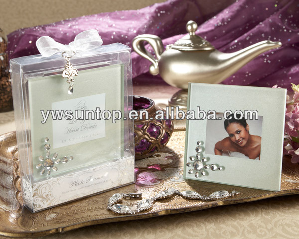 Crystal Glass coaster Wedding Photo Frame Favors with gift box Small order