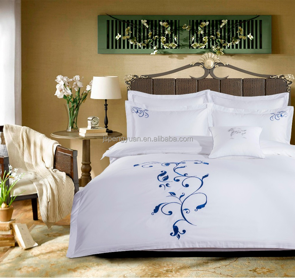 High Quality White Satin Plain Hotel Bedding <strong>Set</strong> 4pcs with Embroidery