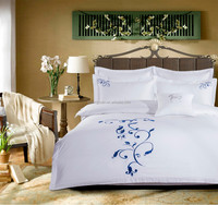 High Quality White Satin Plain Hotel Bedding Set 4pcs with Embroidery