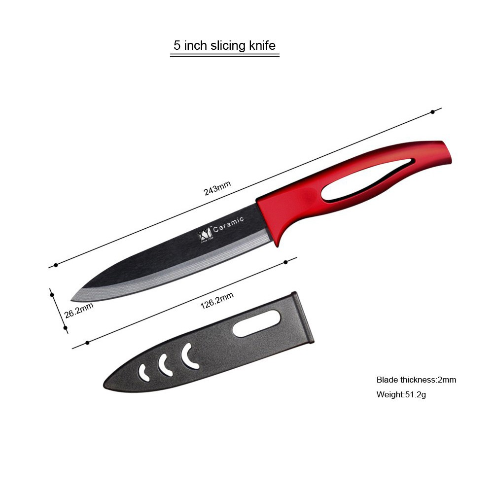 XYJ Brand Kitchen Knives Chef Slicing Utility Paring Ceramic Knife Set With One Red Peeler Knives Soft ABS Handle Cooking Tools