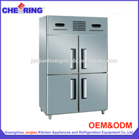 1.5LG4 ventilated 4 door stainless steel commercial side by side refrigerator freezer