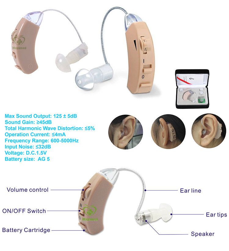 HOT SALE High Frequency FDA Ear Sound Amplifier BTE Hearing Audiophone For Hearing Impaired