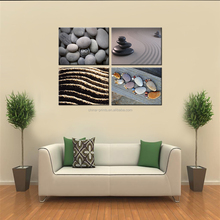 Pebble Stone Canvas Painting 4 Panels Zen Canvas Wall Art Home Decorative Goods Framed and Stretched Wholesale