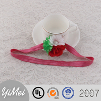 Colorful artificial flower headband elastic hair accessories for kids