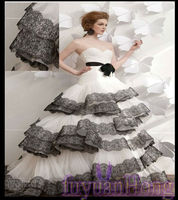 ST1029 New Pleated Sweetheart Layered black organza wedding dress 2013