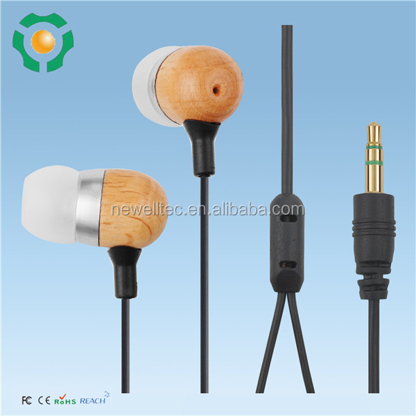 New custom Wooden Unique Earphone/China Earbuds Bulk sale