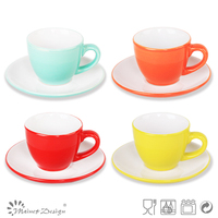Chinese supplier stamped ceramic tea cup&saucer 3oz color brand coffee cup & saucer