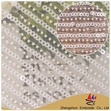 2017 Alibaba hot textile white stripe 3d flower lace embroidered fabric with bead