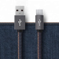 Super fast Jeans wire metal plug 5in 8 pin type c usb cable data sync micro usb cable