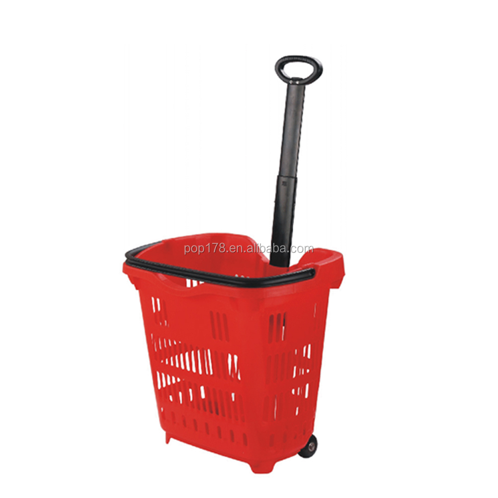 Guangzhou Manufacturer Wholesale Plastic Rolling Shopping Trolley Basket With Wheels