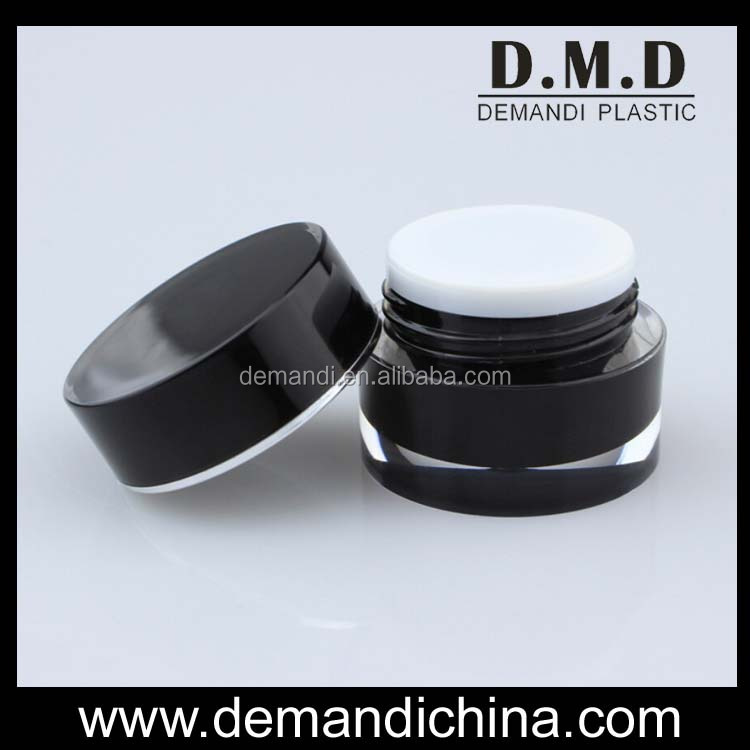 Empty acrylic gold 5g 10g 15g 30g 50g plastic black cosmetic jar