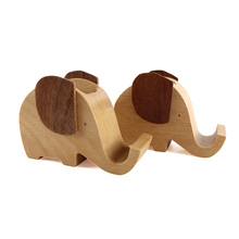 Hot Selling Maple Wood Elephant Design <strong>Pen</strong> Brush <strong>Holder</strong> Natural Phone <strong>Holder</strong> with Custom Logo