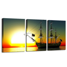Sailing Boat At Sea Canvas Wall Art/Sunset Wall Art for Home and Office Decor/Sea Scenery Picture Giclee Printing
