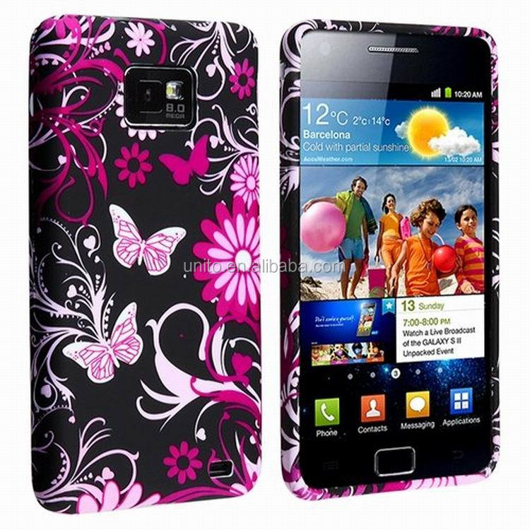 Beauiful Flower and Butterfly Pattern Soft Skin TPU Gel Case Cover Protector For Samsung Galaxy S2 II i9100