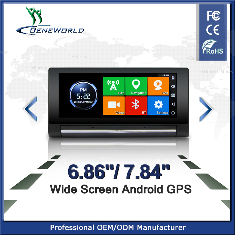 hot sale big screen 6.86 inch android 3G gps with Android 0S Dual-way DVR ADAS