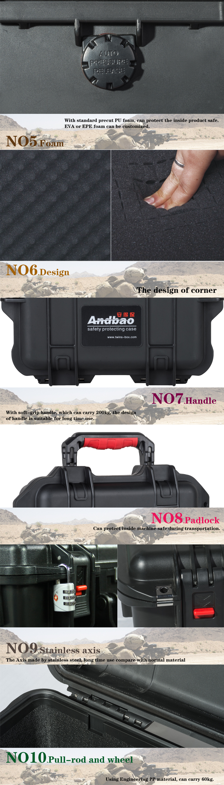 waterproof shockproof hard plastic rifle case