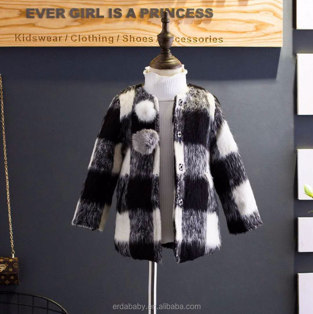 2017 winter boys and girls retro plaid wool ball woolen plus thick coat coat