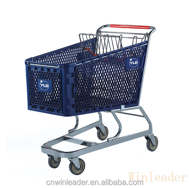 150L supermarket unfolding plastic shopping cart trolley with bottom tray