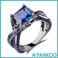 Princess Cut Created Blue Sapphire Engagement Ring Sterling Silver Gemstone Jewelry