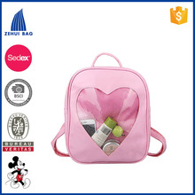 Candy Leather Plastic Backpack Transparent Heart Beach Bag for Girls