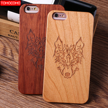TOMOCOMO Natural Real Wood + Pc Case Para For iPhone 6 6 splus Novedad Vintage Wolf Case Cover Para For iPhone 8 8plus