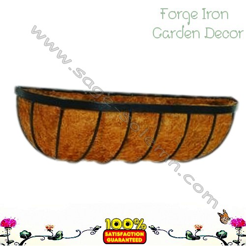 Metal trough Wrought iron wall planter with coco liner Large metal planter