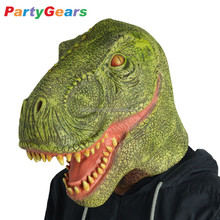Realistic Adult Tyrannosaurus Rex Rubber Latex Dragon Dinosaur Head Mask For Costume