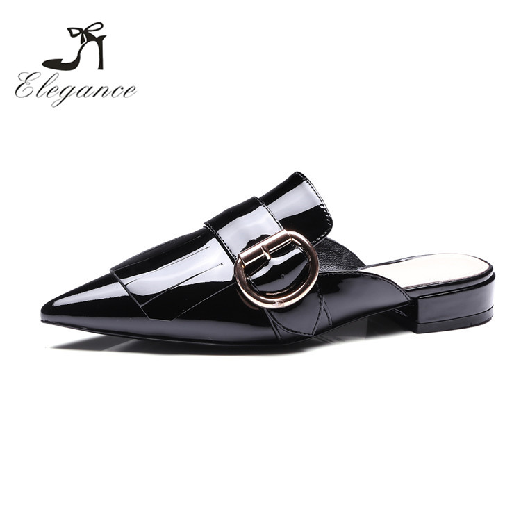 Latest Chic Outdoor Pointy Toe Flat Slippers Patent Leather Mules Shoes For Women