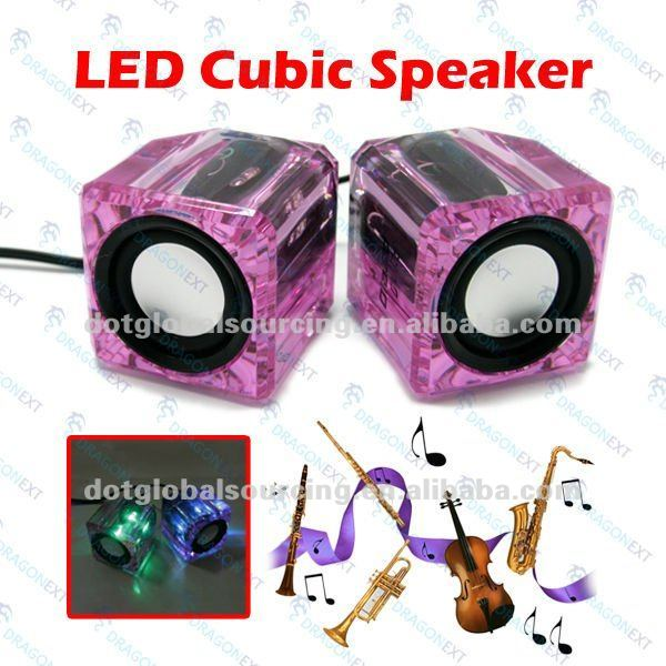Cheap Mini USB Crystal LED Remote Cubic Speaker For Computer Laptop PC