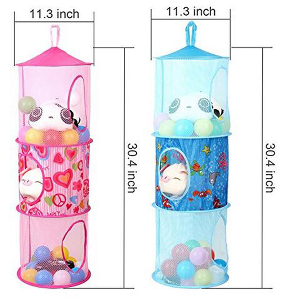 Wholesale Cheap Price Mesh Fabric Space Saver 3 Compartments Toy Hanging Closet Organizer For Kids 2 Pcs Set Pink And Blue