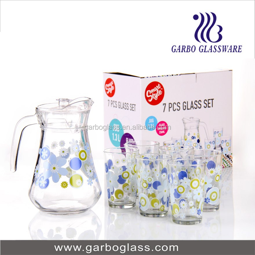 Decal & Printing 7PCS Glassware set/ glass jug and cups set for home use