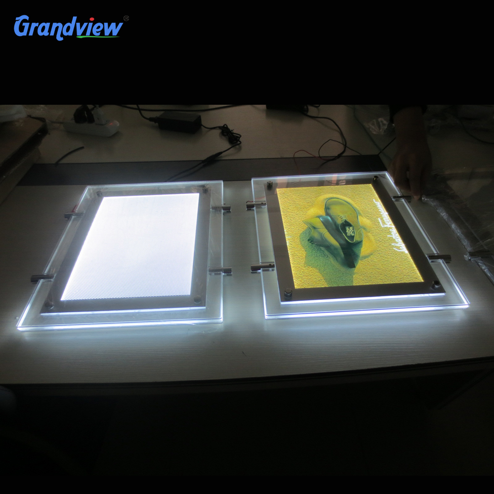 Wall mounted A2 restaurant <strong>LED</strong> crystal slim light box display