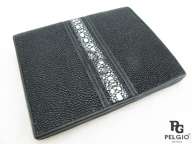 PELGIO Genuine Row Stingray Skin Men's Wallet Black
