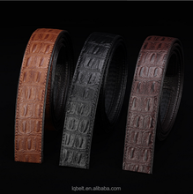 microfiber material man-made leather belt strap customized Men's automatic buckle belt without buckles