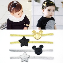 2pc Newly Design Mickey Children's Elastic Hair Band Girls Hair Accessories Baby Star Shining Headbands Kids Headwear