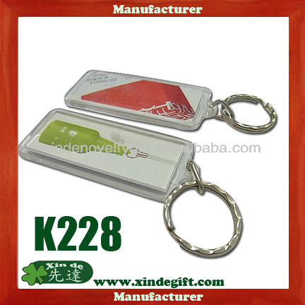 Clear Plastic photo insert keychain, inserto de plastico transparente foto llavero - Color printed paper insert key holder