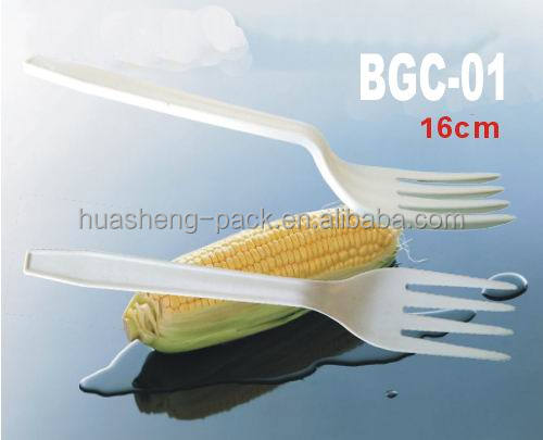 wholesale biodegradable disposable corn starch cutlery plastic fork