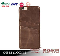 Genuine leather hard cover case for iPhone 6 credit card holder