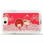 Happy Couple Pattern Diamond Encrusted Plastic Case for Samsung Galaxy Note II / N7100
