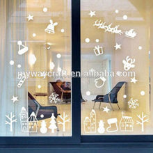 Decorative merry christmas white PVC window sticker for party/family/shop