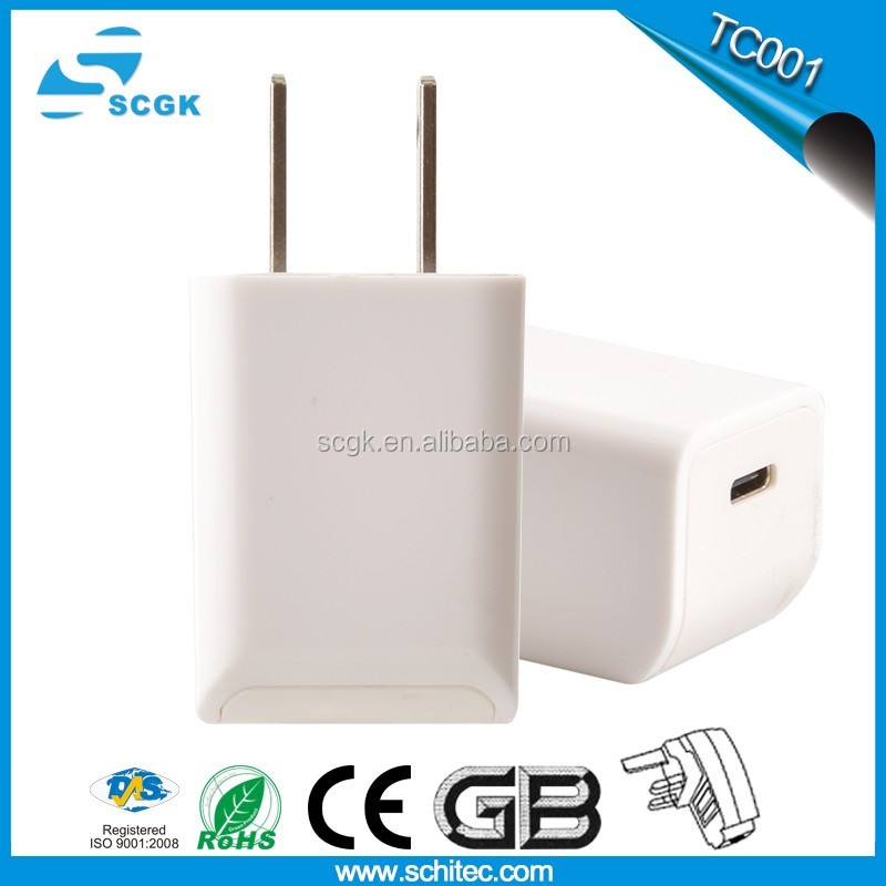 2017 new type-C wall charger for smart phones with CE Rohs FCC