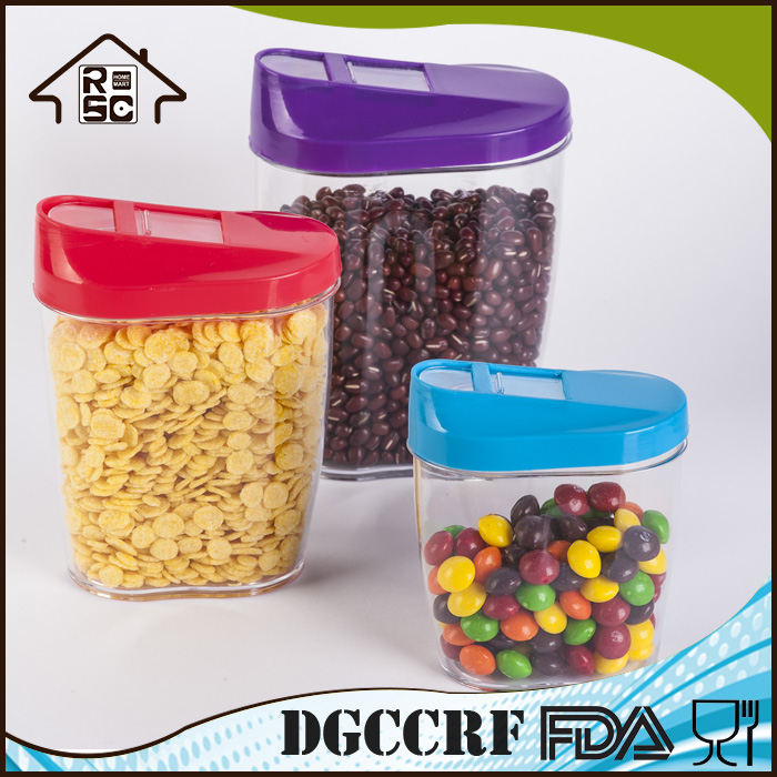 NBRSC 3 Pieces Plastic Cereal Dispenser Set Dry Food Storge Containers with Lid