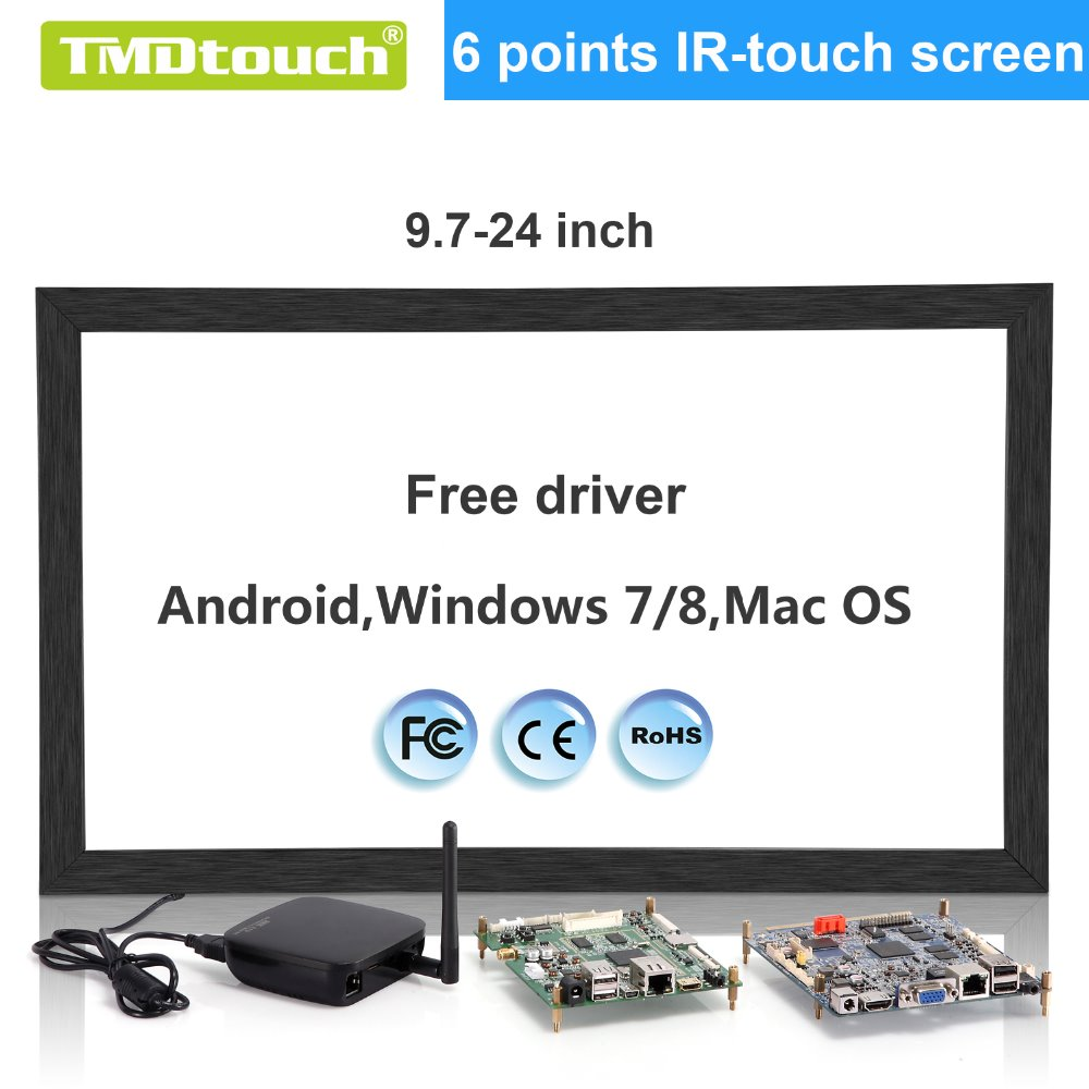 [TMDtouch]19.5 inch ir multi touch screen,ir touch overlay with black Aluminum Alloy brushed frame