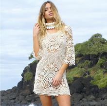 Sun-protective clothing women white hollow out lace sexy dress crochet backless beach dress on vacation bikini smock