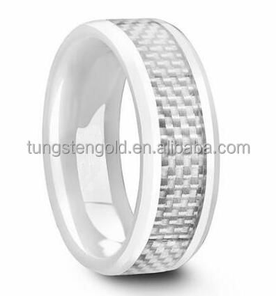 White ceramic wedding rings jewelry women with carbon fiber inlay