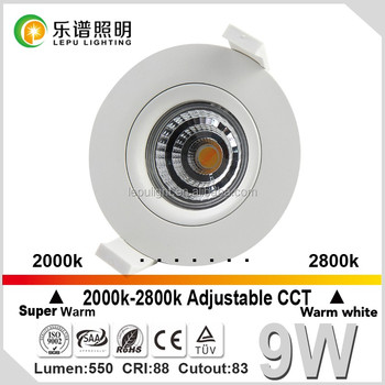 Lepu high quality 9W dimmable cob 83mm cut out ACtec triac dim led downlight with ce& rohs