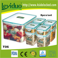 Plastic stackable and nestable plastic containers for food storage