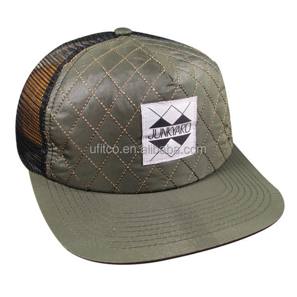 2015 5 panel quilted sponge front custom label design mesh back good quality funny cute snapback cap cheap